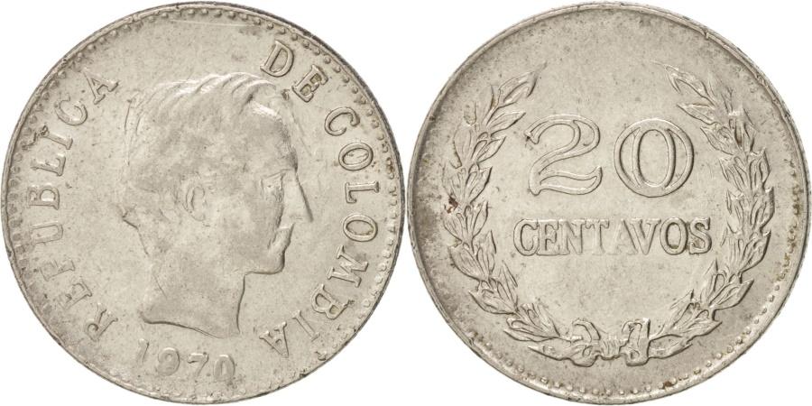 World Coins - Colombia, 20 Centavos, 1970, KM:237, , Nickel Clad Steel