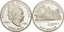 Us Coins - United States, Dollar, 1990, U.S. Mint, Philadelphia, MS(65-70), Silver, KM:227