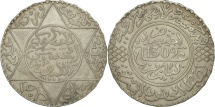 Morocco, Moulay al-Hasan I, 5 Dirhams, 1891, Paris, AU(50-53), Silver, KM:7