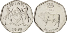 Botswana, 25 Thebe, 1999, British Royal Mint, MS(64), Nickel plated steel, KM:28
