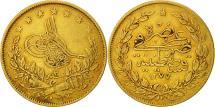 World Coins - Turkey, Abdul Aziz, 100 Kurush, 1862, Qustantiniyah, EF(40-45), Gold, KM:696