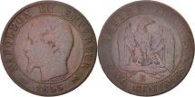 World Coins - France, Napoleon III, 5 Centimes, 1855, Rouen, F(12-15), Bronze, KM 777.2