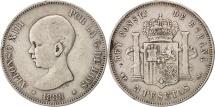 Spain, Alfonso XIII, 5 Pesetas, 1888, Madrid, VF(30-35), Silver, KM:689