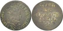 World Coins - France, Louis XIV, Liard de France au buste juvénile, deuxième type, Liard