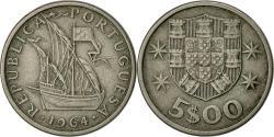 World Coins - Portugal, 5 Escudos, 1964, , Copper-nickel, KM:591