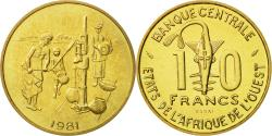 World Coins - West African States, 10 Francs, 1981, , Brass, KM:E12