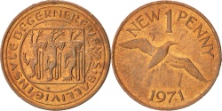 World Coins - GUERNSEY, New Penny, 1971, KM #21, , Bronze, 20.32, 3.55