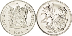 World Coins - SOUTH AFRICA, 20 Cents, 1984, KM #86, , Nickel, 24.2, 6.10
