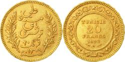 World Coins - Coin, Tunisia, Ali Bey, 20 Francs, 1892, Paris, , Gold, KM:227