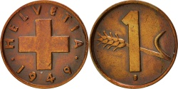 World Coins - Switzerland, Rappen, 1949, Bern, AU(55-58), Bronze, KM:46