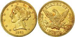 Us Coins - Coin, United States, Coronet Head, $5, Half Eagle, 1861, Philadelphia, Rare