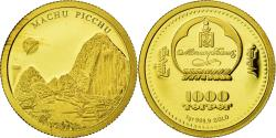 World Coins - Mongolia, 1000 Togrog, Machu Picchu, 2008, , Gold