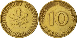World Coins - GERMANY - FEDERAL REPUBLIC, 10 Pfennig, 1950, Munich, , KM:108