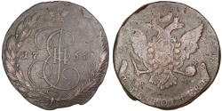 World Coins - RUSSIA, 5 Kopeks, 1766, Ekaterinbourg, KM #59.3, , Copper, 49.06