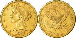 Us Coins - Coin, United States, Coronet Head, $5, Half Eagle, 1881, San Francisco