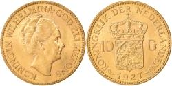 World Coins - Coin, Netherlands, Wilhelmina I, 10 Gulden, 1927, MS(63), Gold, KM:162