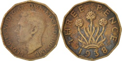 World Coins - Great Britain, George VI, 3 Pence, 1938, VF(20-25), Nickel-brass, KM:849