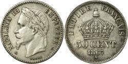 World Coins - Coin, France, Napoleon III, Napoléon III, 50 Centimes, 1867, Paris,