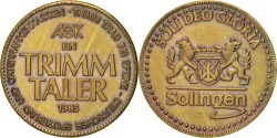 World Coins - Germany, Ein Trimm Taler, Politics, Society, War, Medal, 1985,