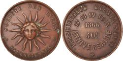 World Coins - France, Token, Masonic, Société des Incas, Valenciennes, 1866, AU(50-53)