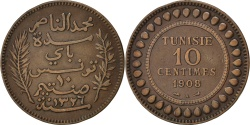 World Coins - TUNISIA, 10 Centimes, 1908, Paris, KM #236, , Bronze, Lecompte #101,...