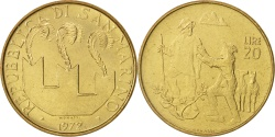 World Coins - San Marino, 20 Lire, 1972, Rome, , Aluminum-Bronze, KM:18