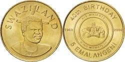 World Coins - SWAZILAND, 5 Emalangeni, 2008, KM #55, , Brass, 27, 7.47