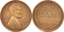 Us Coins - UNITED STATES, Lincoln Cent, Cent, 1952, U.S. Mint, KM #A132, , Brass,.
