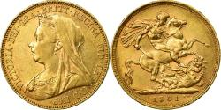World Coins - Coin, Australia, Victoria, Sovereign, 1901, Melbourne, , Gold, KM:13