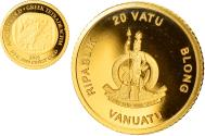 World Coins - Coin, Vanuatu, ancient gold greek tetradrachm, 20 Vatu, 2015, British Royal