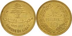 World Coins - Lebanon, 10 Piastres, 1975, Paris, , Nickel-brass, KM:26