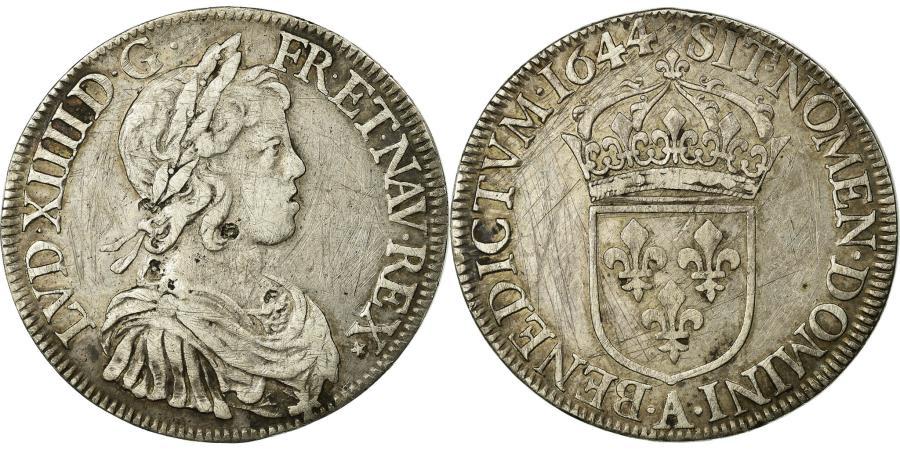 World Coins - Coin, France, Louis XIV, Écu à la mèche courte, Ecu, 1644, Paris, EF(40-45)