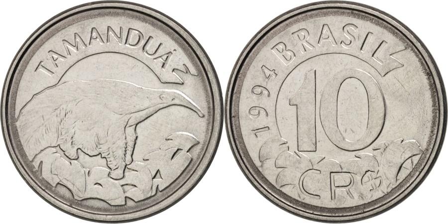 Brazil, 10 Cruzeiros Reais, 1994, , Stainless Steel, KM:628
