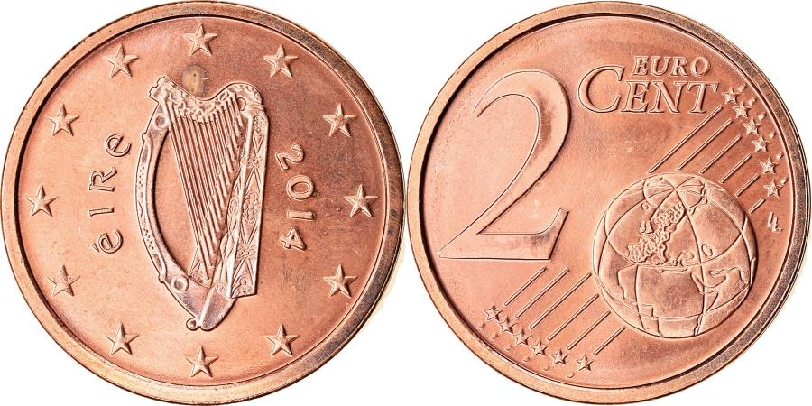 World Coins - IRELAND REPUBLIC, 2 Euro Cent, 2014, MS(63), Copper Plated Steel