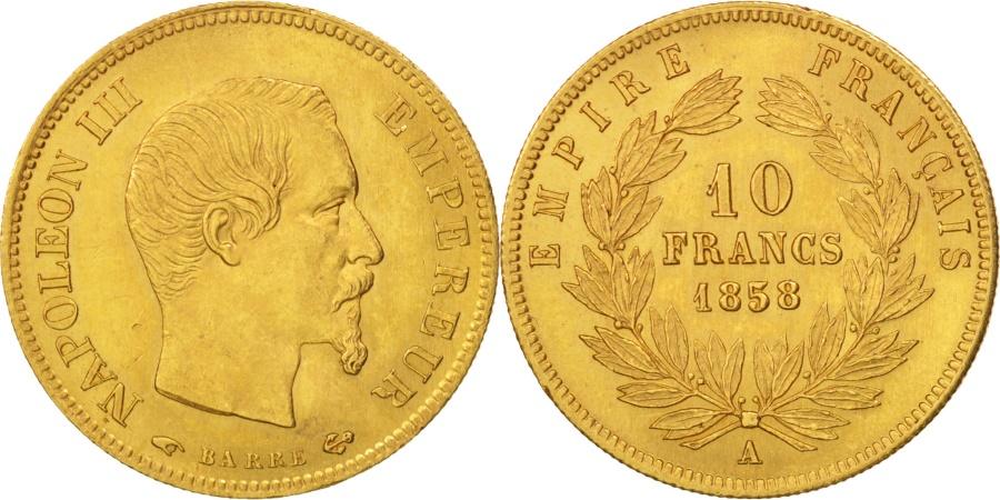 World Coins - France, 10 Francs, 1858, Paris, , Gold, KM:784.3, Gadoury:1014