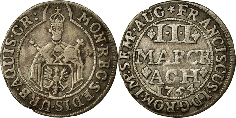 World Coins - Coin, German States, AACHEN, 3 Marck, 1754, EF(40-45), Silver, KM:50