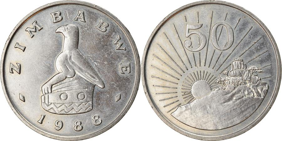 World Coins - Coin, Zimbabwe, 50 Cents, 1988, , Copper-nickel, KM:5