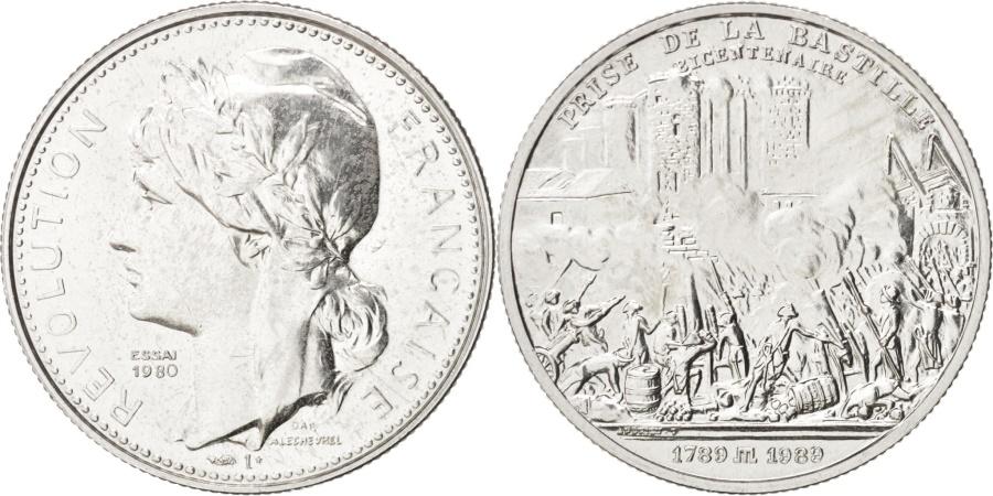 World Coins - France, Prise de La Bastille, French Fifth Republic, History, Medal, 1989