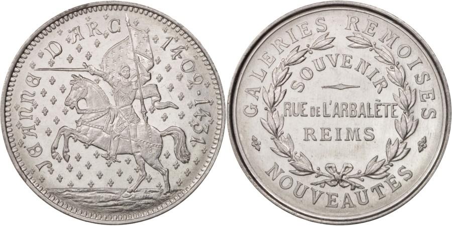 World Coins - France, Medal, Galeries Rémoises, Jeanne d'Arc, Business & industry, 1923