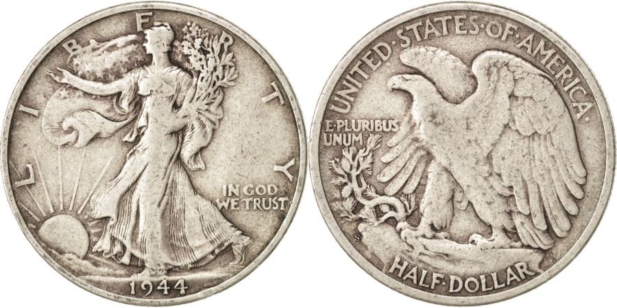 US Coins - United States, Walking Liberty Half Dollar, 1944, San Francisco, KM 142