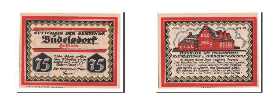 World Coins - Germany, Budelsdorf Gemeinde, 75 Pfennig, 1921, AU(55-58), Mehl #200.1