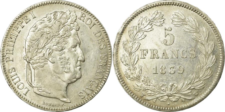 World Coins - Coin, France, Louis-Philippe, 5 Francs, 1839, Lille, MS(60-62), Silver