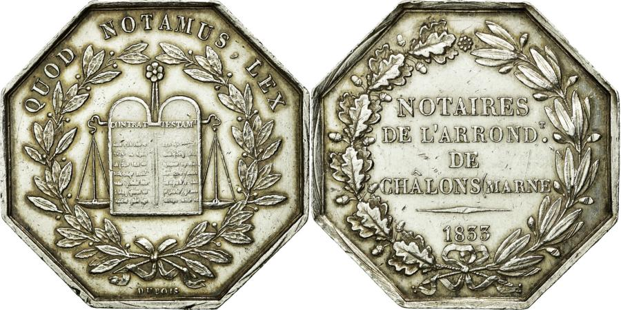 World Coins - France, Token, Notary, 1833, AU(50-53), Silver, Lerouge:72