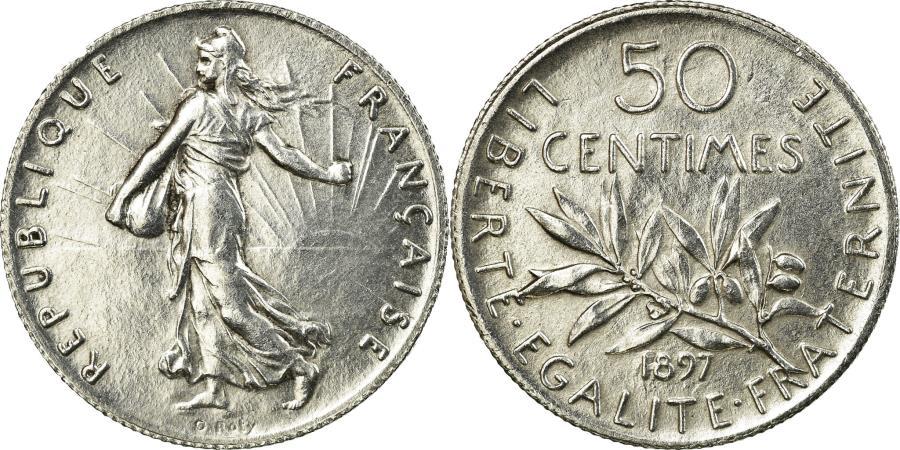 World Coins - Coin, France, Semeuse, 50 Centimes, 1897, Paris, MS(60-62), Silver, Gadoury:420