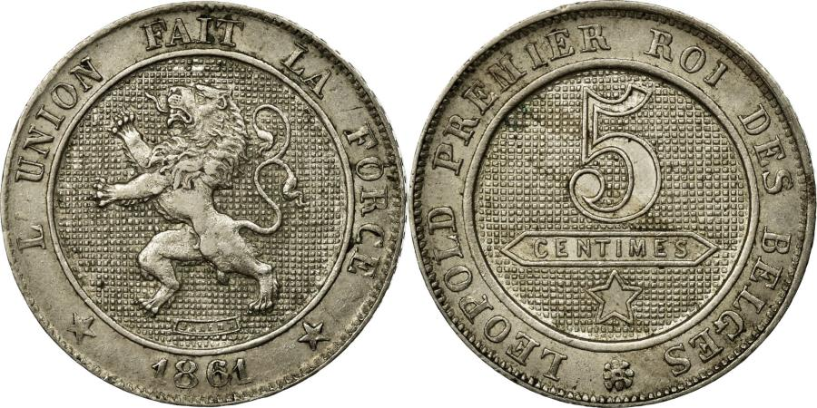 World Coins - Coin, Belgium, Leopold I, 5 Centimes, 1861, AU(55-58), Copper-nickel, KM:21