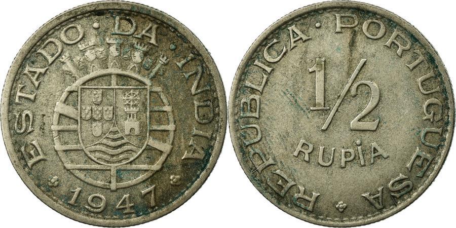 World Coins - Coin, INDIA-PORTUGUESE, 1/2 Rupia, 1947, , Copper-nickel, KM:26