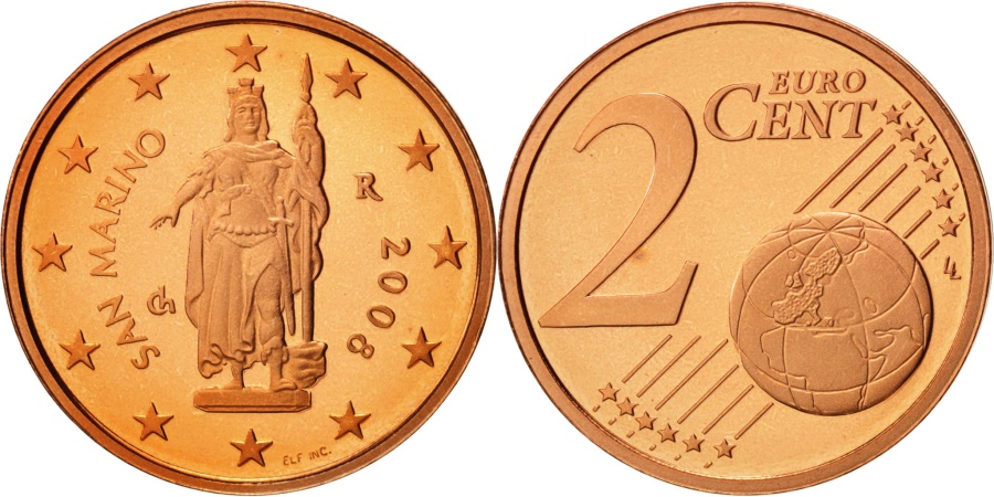 World Coins - San Marino, 2 Euro Cent, 2008, , Copper Plated Steel, KM:441