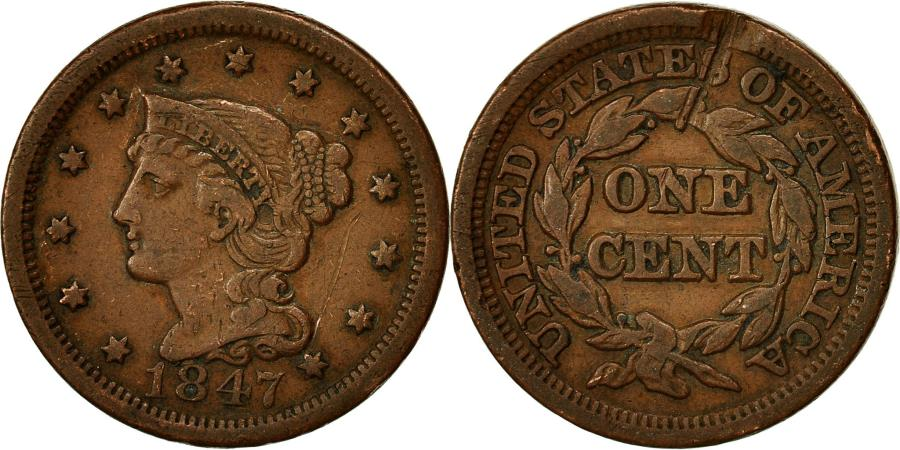 US Coins - Coin, United States, Braided Hair Cent, Cent, 1847, U.S. Mint, Philadelphia