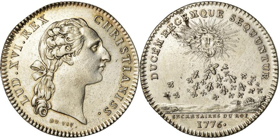 World Coins - France, Token, Louis XVI, Secrétaires du roi, History, 1776, Duvivier