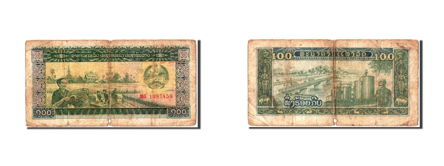 World Coins - Lao, 100 Kip, KM #30a, F(12-15), MG1997458